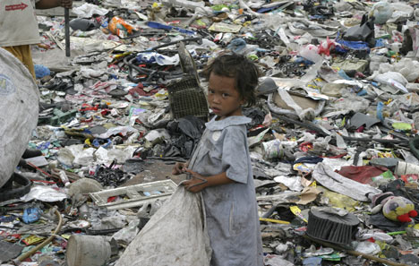 girl in garbage dump