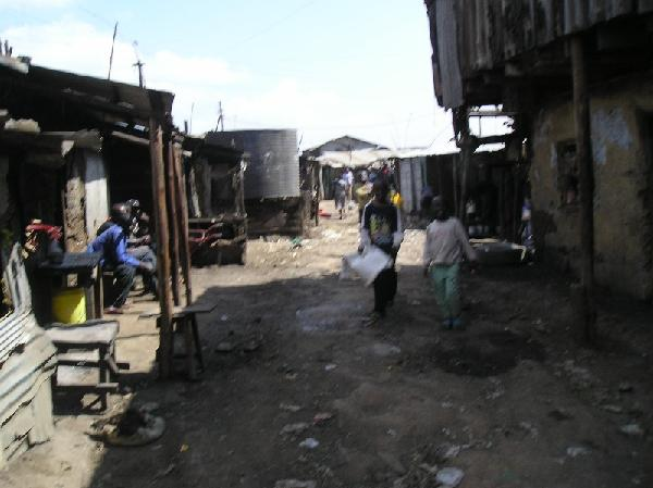 Streets of Kibera Slum in Kenya