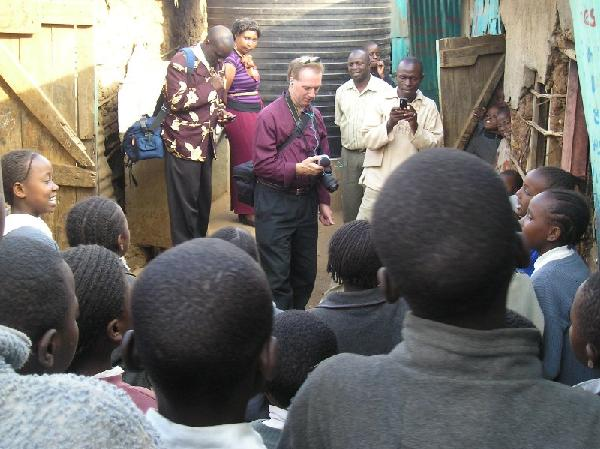Jon Gauger interviewing in Kibera Slum, Kenya