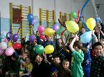Clubbers with balloons in Kazakhstan