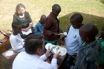 Brian Rhodes handing out ornaments in Kenya